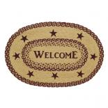 Burgundy Tan Jute Rug Oval WELCOME20x30
