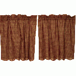 ティアカーテン Burgundy Check Scalloped Tier Curtain